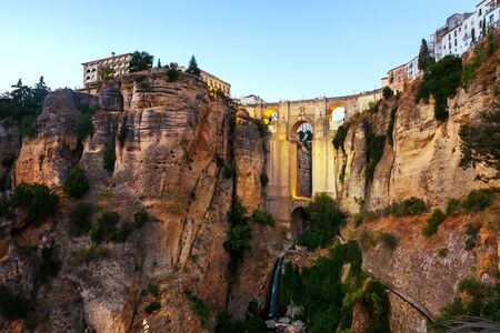 The Puente Nuevo New Bridge over Guadalevin River in Ronda, Andalusia, Spain 版權商用圖片