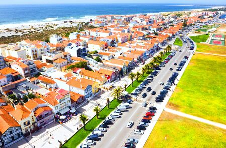 Aerial view of the famous Costa Nova colorful houses in Aveiro, Portugal