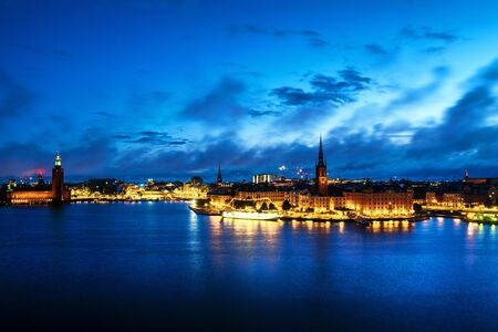 Aerial view of Gamla Stan in Stockholm, Sweden with landmarks like Riddarholm Church