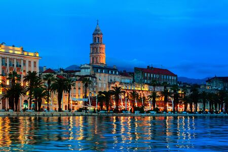 Split, Croatia. View of Split, Croatia at night. Shore of the Adriatic Sea - archaeological gem and a must-see for everyone