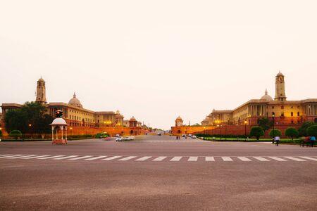 Illuminated Rashtrapati Bhavan an Parliament building in Delhi, India