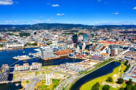 Aerial view of Sentrum area of Oslo, Norway, with Barcode buildings and the river Akerselva