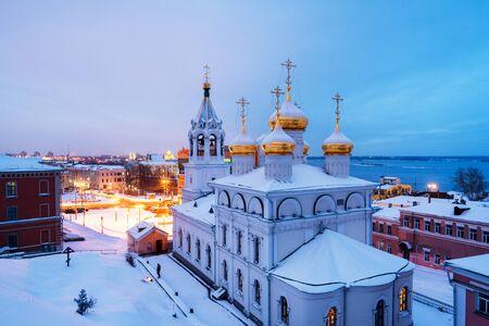 Aerial view of Church of the Nativity of John the Precursor in Nizhny Novgorod, Russia Фото со стока