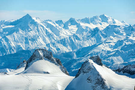 Aerial view of Chamonix valley mountains Montblanc in France in winter. Stock Photo