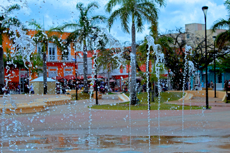 The fountain in the center