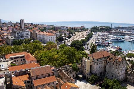 Croatian harbor in city Split in summer on a sunny day.