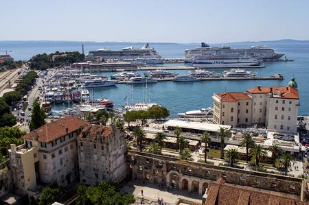 Split city harbor in Croatia in summer. Редакционное