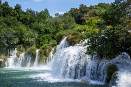 Beautiful Skradinski Buk Waterfall In Krka National Park - Dalmatia Croatia, Europe Фото со стока