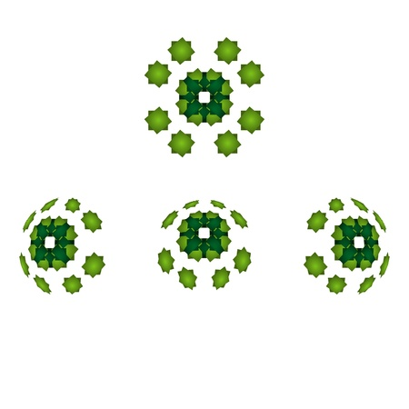 Set of four 3d green sphere graphic elements Stock Vector - 17480066