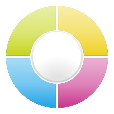 sectors: Vector color cycle diagram illustration divided into four sectors