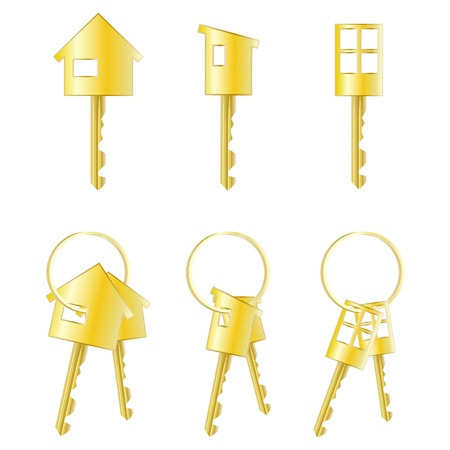 Set of three isolated keys and three pairs of keys  Stock Vector - 17570844