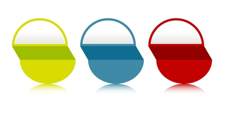 semicircle: Set of three color semicircle blank labels with subtle reflection  Illustration