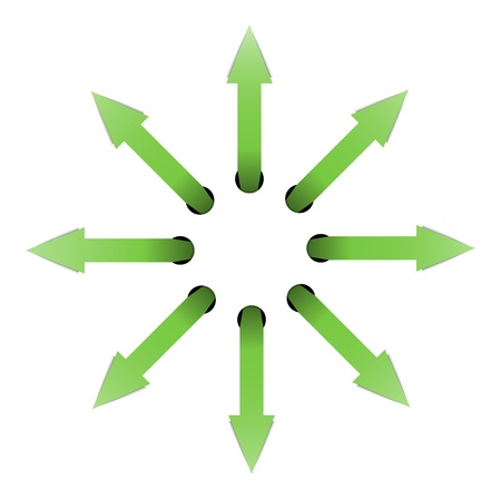 interruption: Set of green arrows situated in the circle