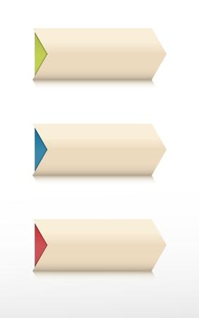 Set of three arrow shape blank buttons  Illustration