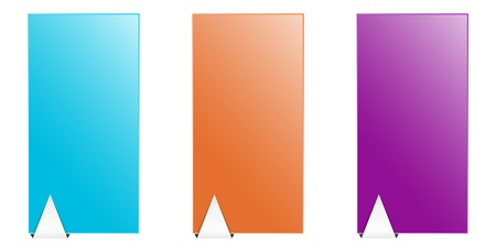 Set of blank color templates with metal looking arrow  Vector