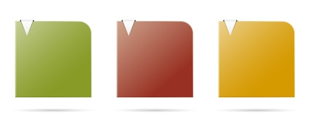 Set of three blank color templates with metal looking arrow  Vector