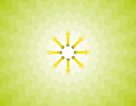 tricky: The sun made out of arrows on the tricky green background  Illustration