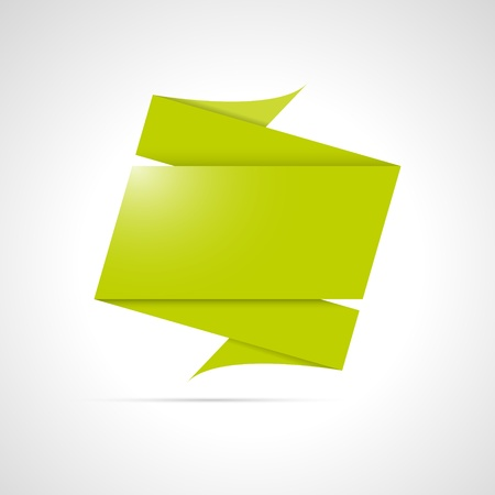 Blank green origami style folded label ready for your text  Vector