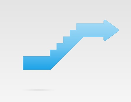 Glossy blue stylized stairs with arrow at the end