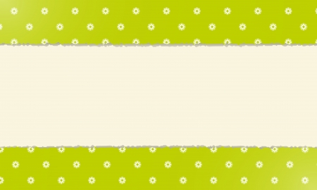 Blank fresh modern spring background made out of two pieces of torn paper with floral pattern Vector