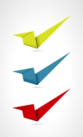 Set of three origami style accept signs   accept sign Stock Vector - 18140597