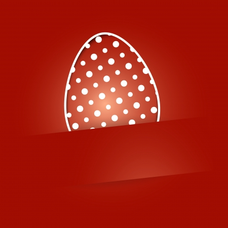 Dotted Easter egg on the red background with blank label / Easter egg background Stock Vector - 18140628