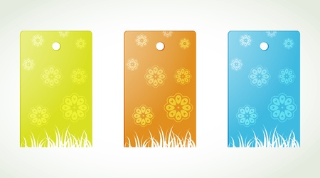 Set of three blank labels with floral motif   flower labels Vector