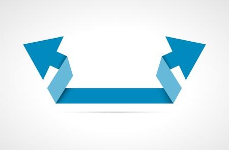 fl�che double: Bleu double fl�che dans un style moderne fl�che bleue � double origami