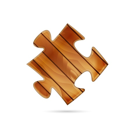 Isolated puzzle piece made out of wood   wooden puzzle piece Stock Vector - 18585348