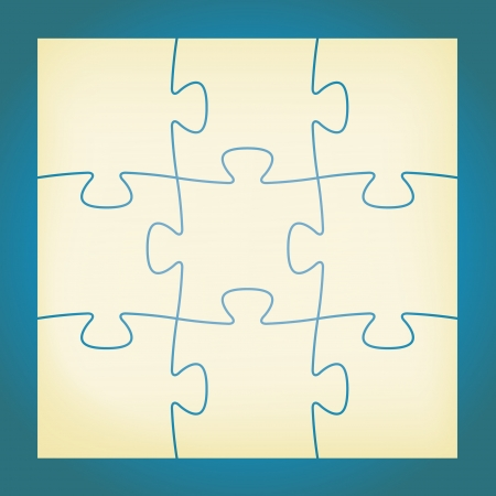 Set of nine blank isolated puzzle pieces   isolated puzzle Vector