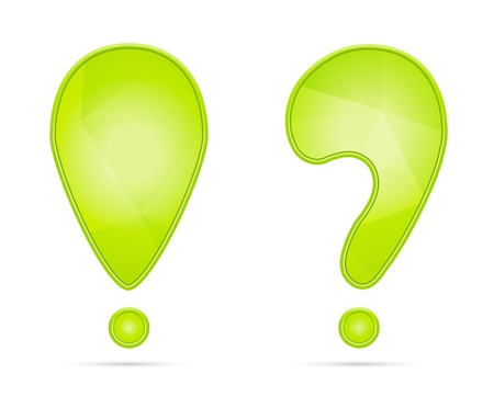 Green exclamation and question mark with subtle geometric pattern   exclamation and question mark Stock Vector - 18729810