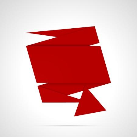 大きな矢印の折り紙のラベルが付いた空赤折り紙スタイル テンプレート