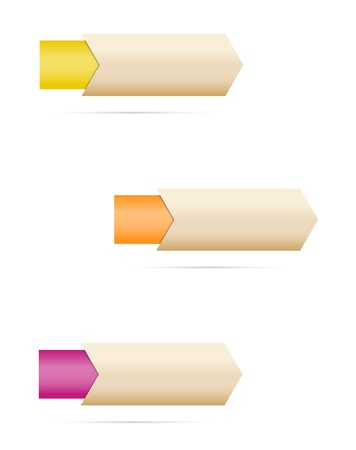 Set of three arrows with various color tags   blank arrows with tag Stock Vector - 18822782