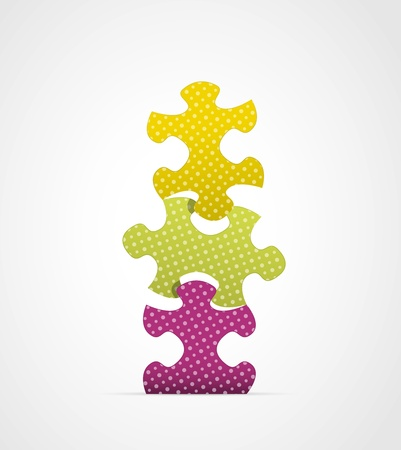 pices: Set of three stylish staggering puzzle pices   puzzle composition