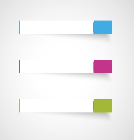 Set of three blank rectangle labels with subtle shadow   rectangle template Ilustrace