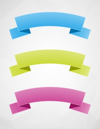 Set of three blank ribbons ready for your text   geometrical ribbons