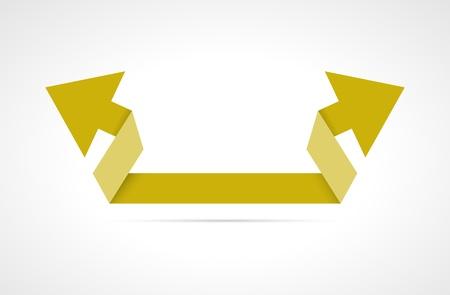flèche double: Yellow style moderne double flèche origami avec ombres subtiles origami double flèche