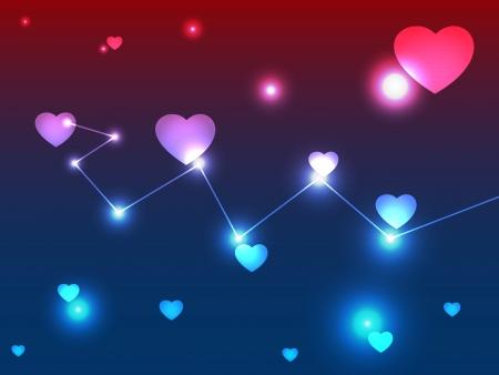 Abstracte dating achtergrond gemaakt van diverse harten hart kosmische abstractie