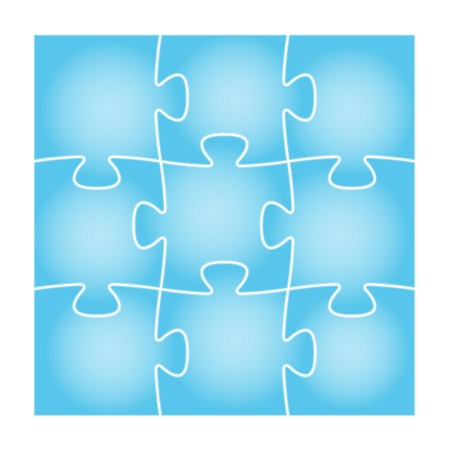 Set of nine blue puzzle pieces in the square composition   puzzle background