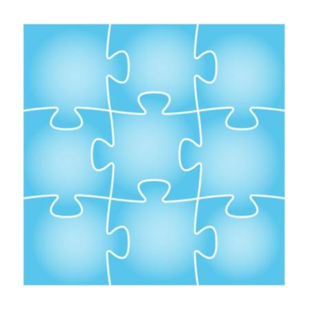 Set van negen blauwe puzzelstukjes in het vierkant samenstelling puzzel achtergrond