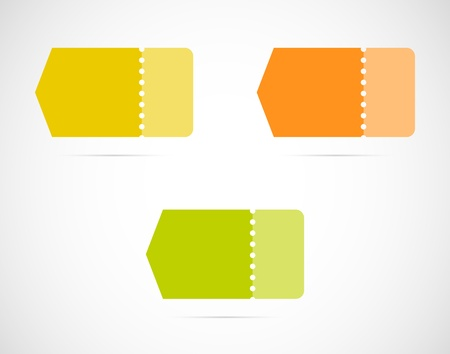 perforation: Set of three blank arrows with perforation   various color arrows Illustration