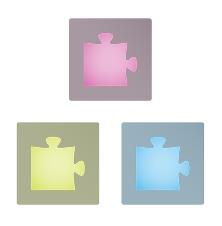 Set of three modern stylish puzzle icons   puzzle icon Vector