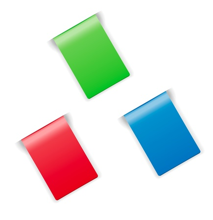 Set of blank green, red and blue labels with hidden edge   labels with hidden edge Vector