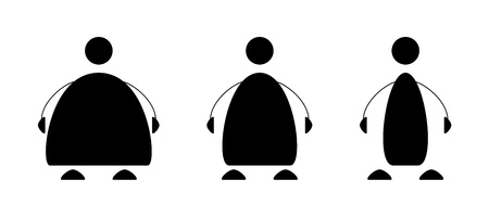 fat to thin: Set of three simple various people icons   The magnificent three