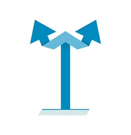 bifurcation: Simple graphic element made out of two connected arrows   vertical arrow directory Illustration