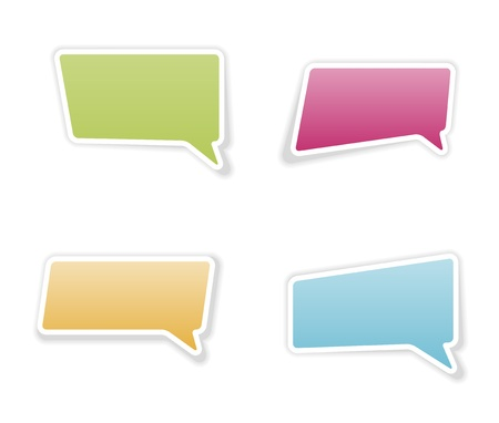 The set of four speech bubbles with shadow   bubble stickers Vector