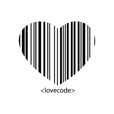 The barcode style heart shape in black color   heart barcode
