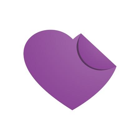 The purple blank label in the shape of heart   purple heart symbol  Vector