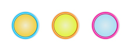 Set of three blank circle buttons with subtle shadow   circle button Vector
