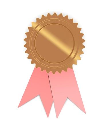 ピンクのリボン、ピンクのリボンとテキスト シールの準備と空白のゴールデン シール